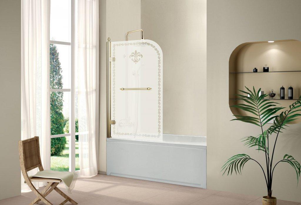 Недостатки и преимущества стеклянной шторки с матовым рисунком для просторной ванной