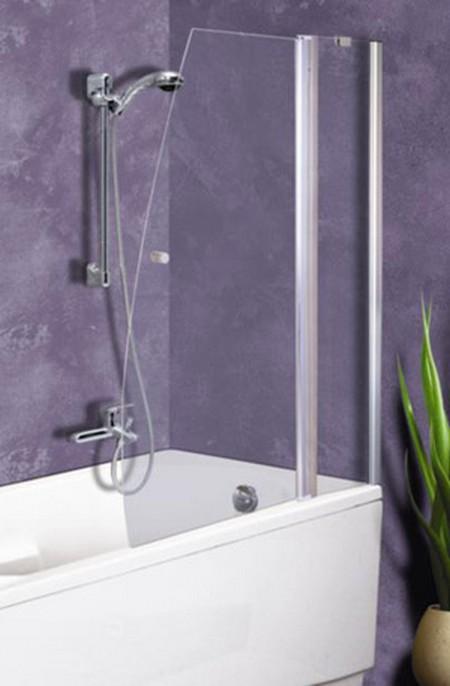 Выбор небольшой стеклянной шторки для ванной комнаты с отделкой в сиреневом цвете