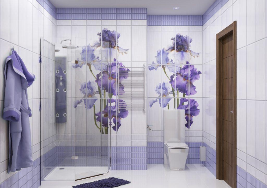 Стеновые панели с оригинальной картиной для лиловой ванной комнаты