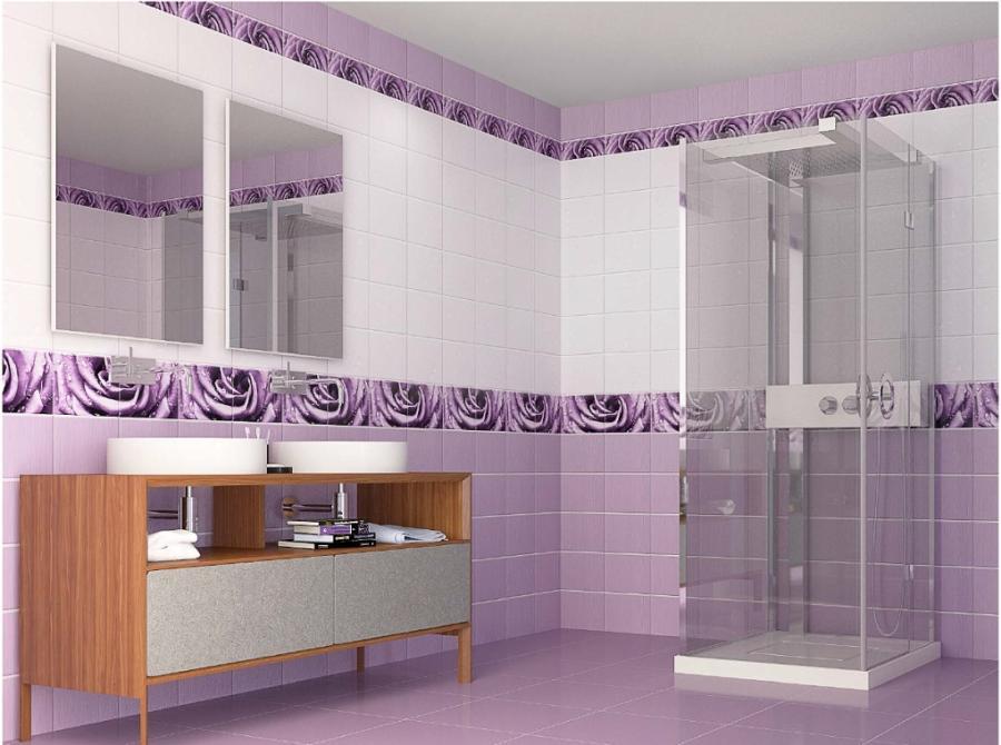 Дизайн стеновых панелей сиреневого цвета для ванной комнаты