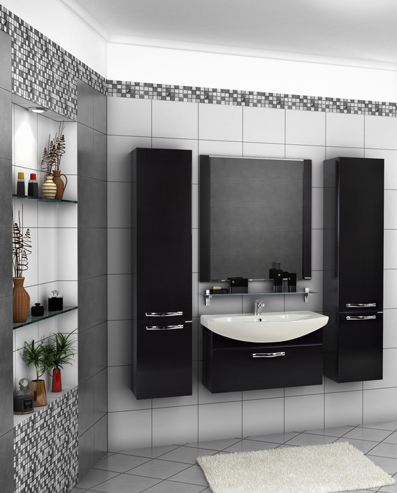 Строгая ванная комната в темном цвете с использованием мебели от «Акватон»