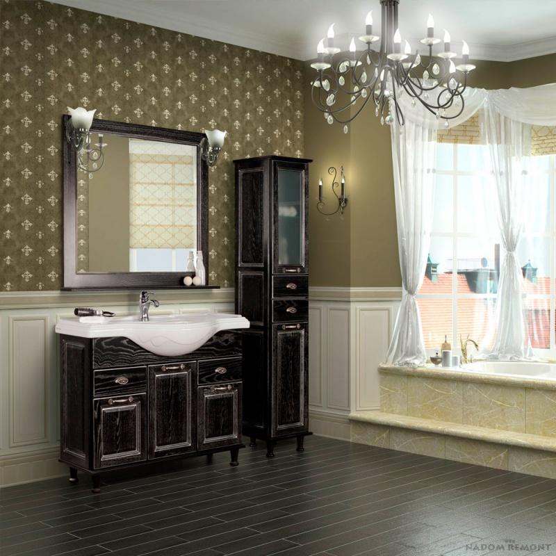 Темная мебель коллекции «Акватон» для ванной комнаты в европейском стиле