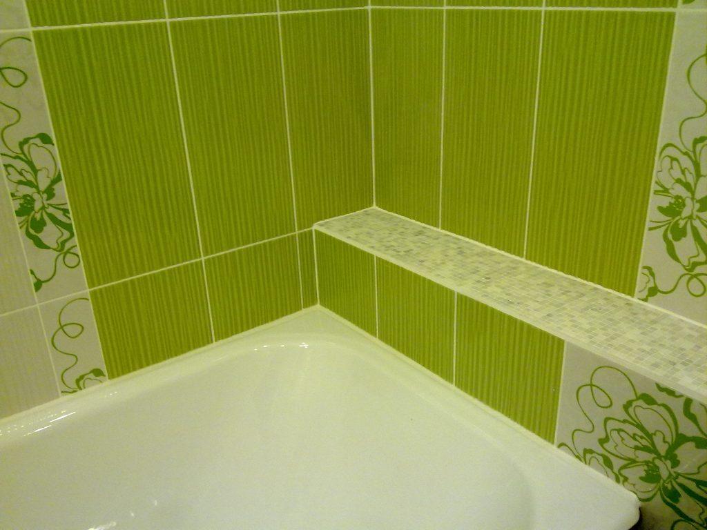Укладка кафельной плитки разного оттенка своими руками в современной ванной