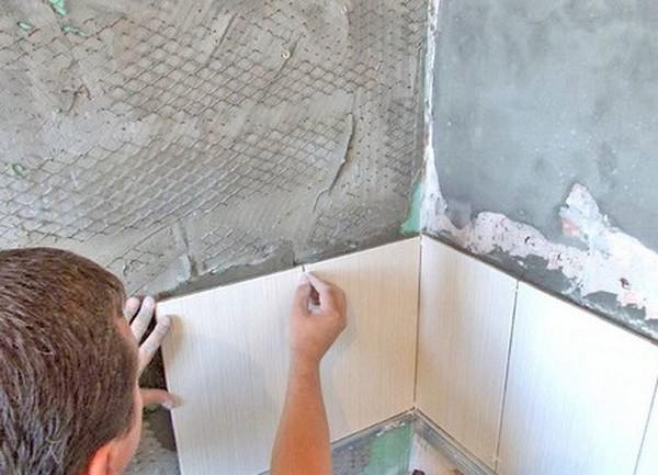 Укладка плитки с угла стены в ванной комнате делаем своими руками