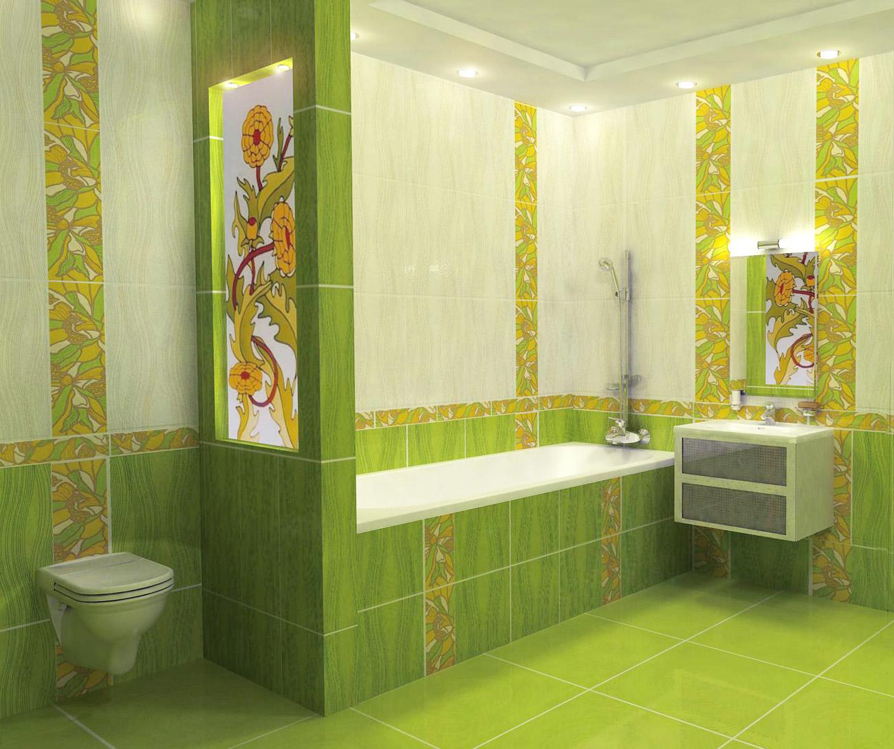 Ванная комната с декором кафельной плиткой в нежных и насыщенных зеленых цветах