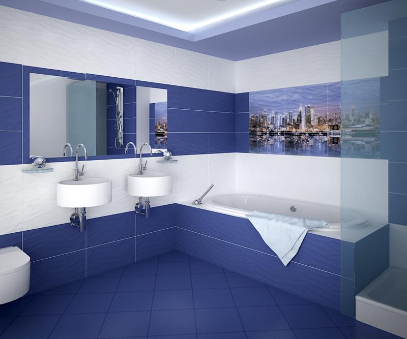 Кафельная плитка насыщенного и глубокого синего цвета для декора ванной комнаты
