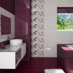 awesome-purple-white-ceramic-walls-scheme-of-contemporary-bathroom-design-with-floating-white-painted-wooden-washbasin-which-has-tempered-glass-top-under-rectangle-frameless-wall-mirror