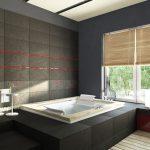 black bathroom white sinks bathtub 3