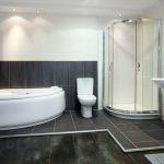 black tile bathroom white shower bath sink 3