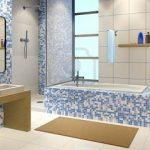 blue mosaic ceramic bathroom tiles freestanding wooden vanity in minimalist bathroom remodeling bathrooms interior design ideas bathrooms interior design bathroom snazzy bathrooms interior design in 3