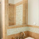 glass tile border in bathroom bhg