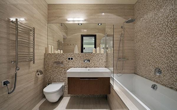 разработка дизайна ванной комнаты совмещенной с туалетом