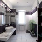 modern bathroom black white purple vessel sink 1
