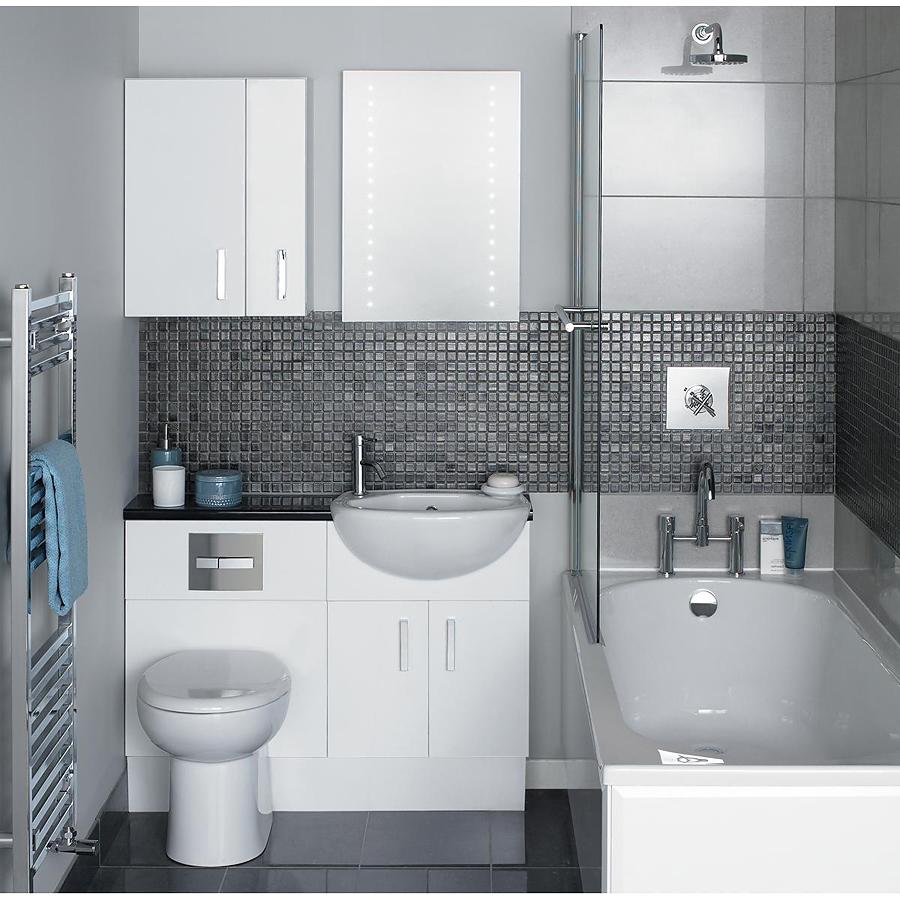 Дизайн маленькой ванной комнаты в серых тонах с оттенком металлика