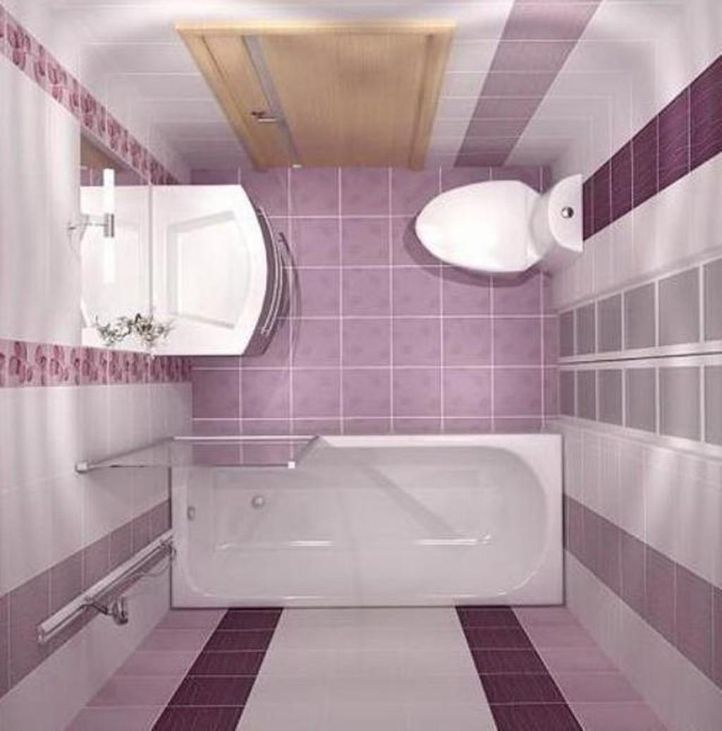 Фото дизайна для маленькой ванной комнаты в нежном лиловом цвете