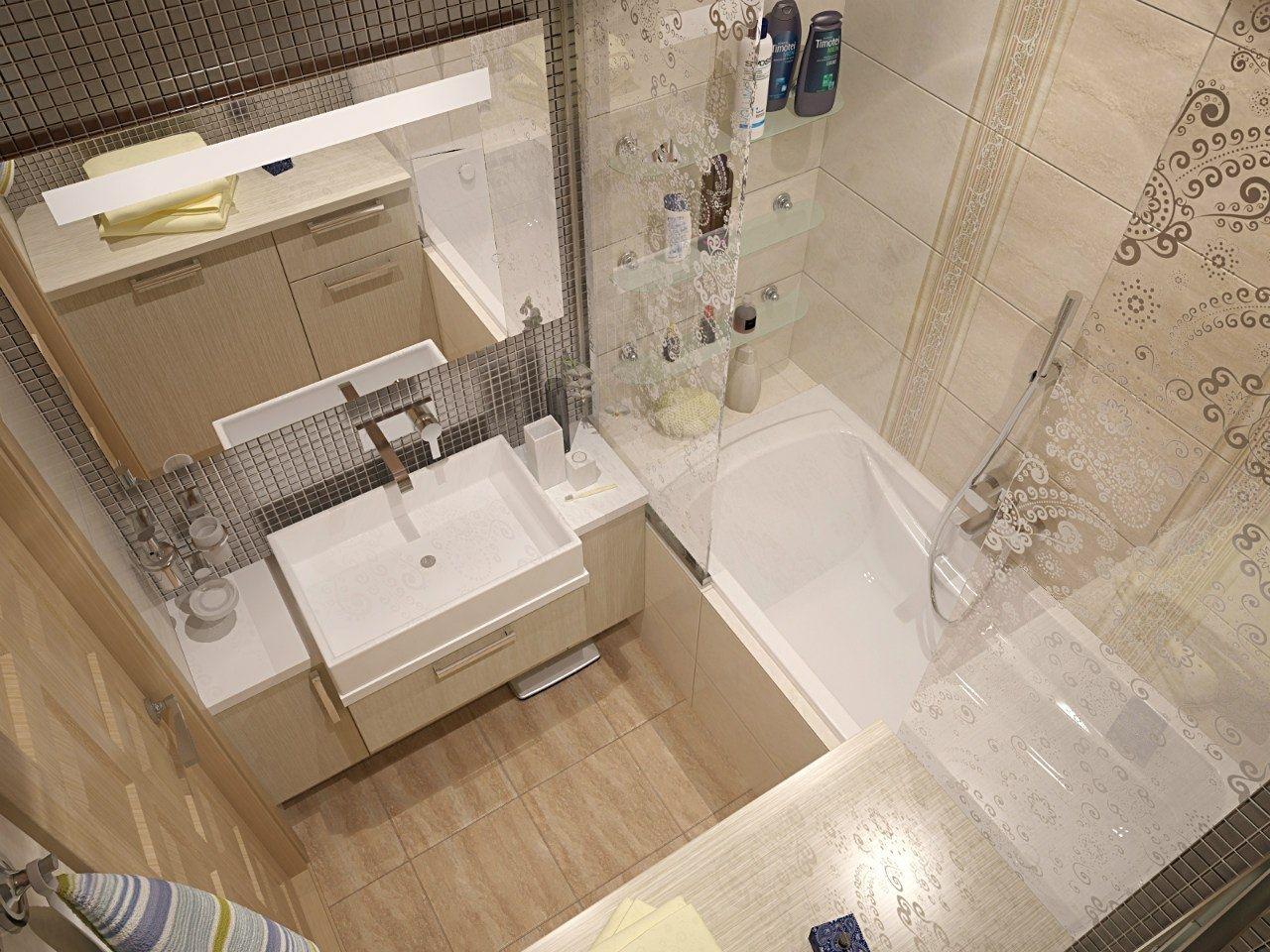 Фото маленькой ванной комнаты с минимальным декором и отделкой в светлых оттенках