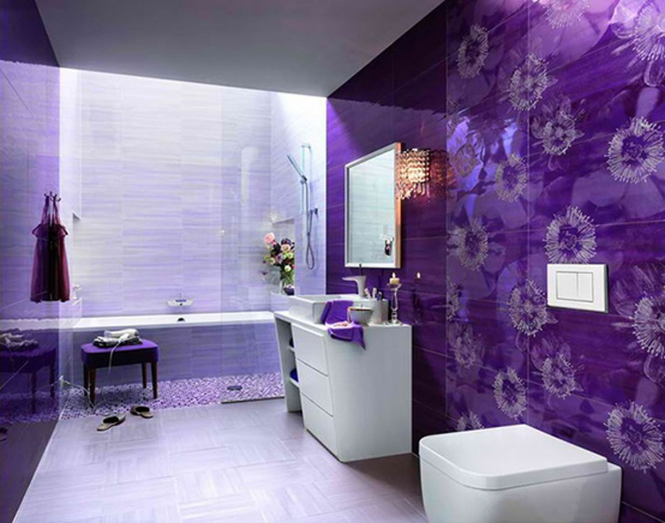 Purple-Ceramic-Wall-Tiles-For-Modern-Bathroom-Design-With-Square-Mirrors-And-White-Vanity-Ideas