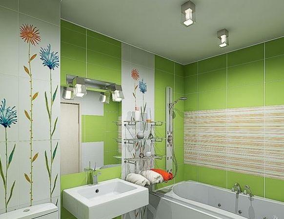 Ванная комната и туалет в зеленых тонах после ремонта