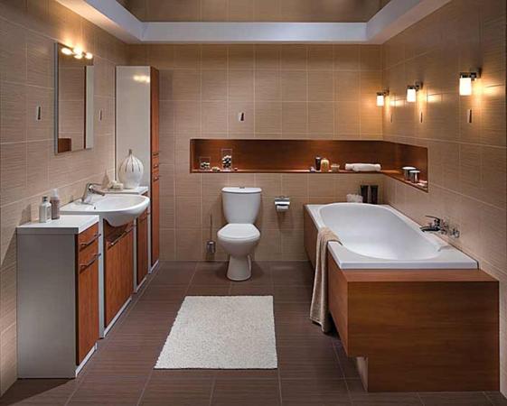 Ванная комната в классическом стиле и выдержанном цвете