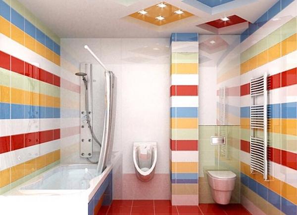 Дизайн современной ванной комнаты и туалета в ярком стиле