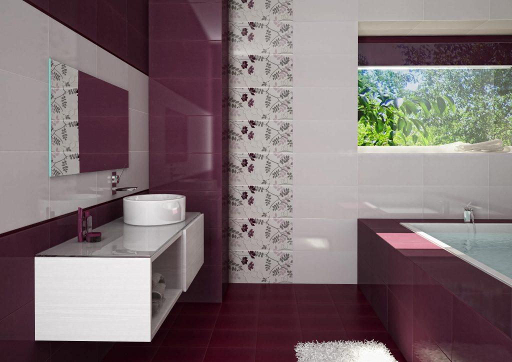 Дизайн бордовой плитки в ванной комнате