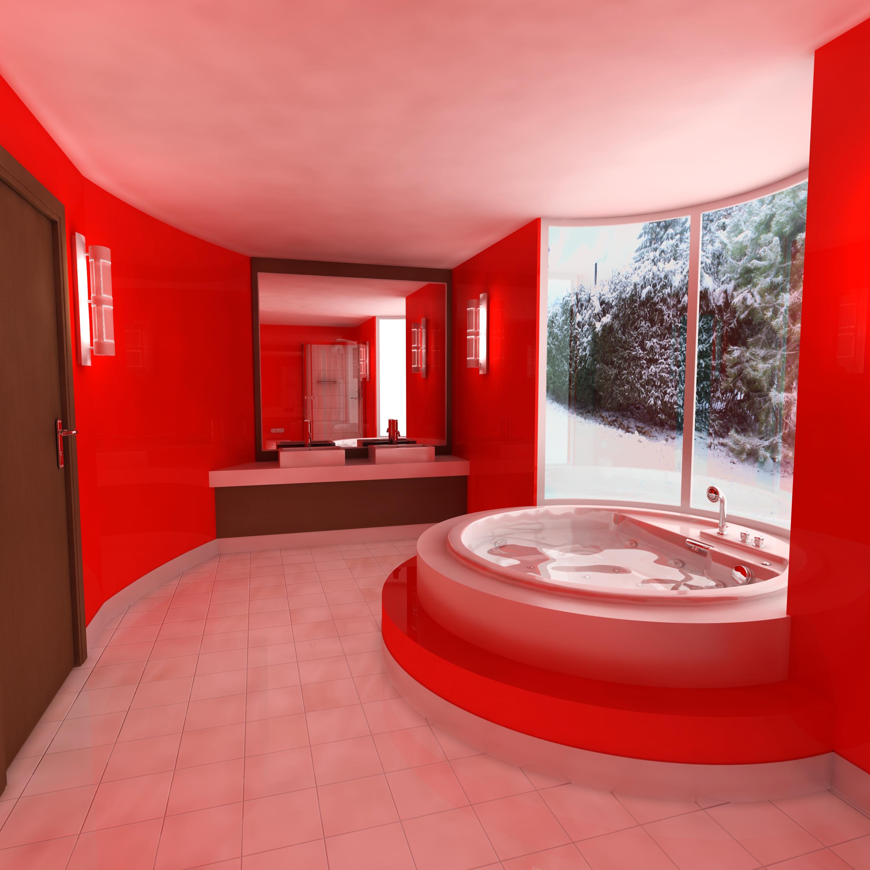 Ванная с красной плиткой