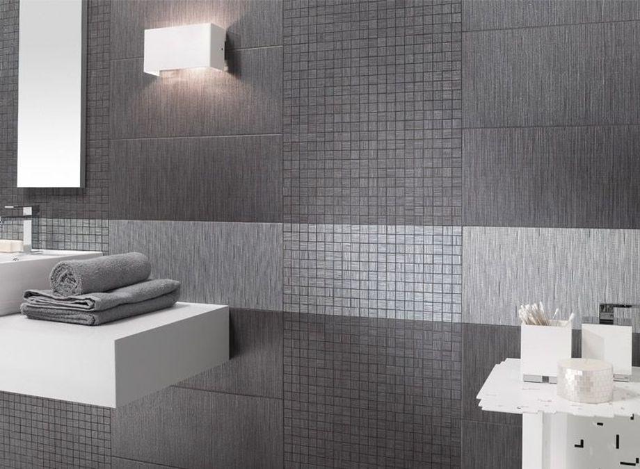 Фото ванной комнаты в серой плитке