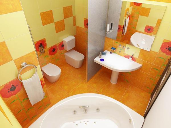 Маленькая ванная комната в теплых оранжевых тонах