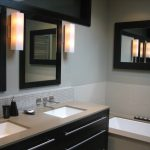 modern design of renovation pictures small bathrooms inspirations with futuristic nickel finished double handle wall faucet on fascinating tile backsplash also square shape walls lighting decor flanki