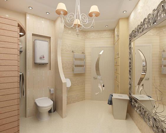 Роскошная и просторная ванная комната в светлых тонах