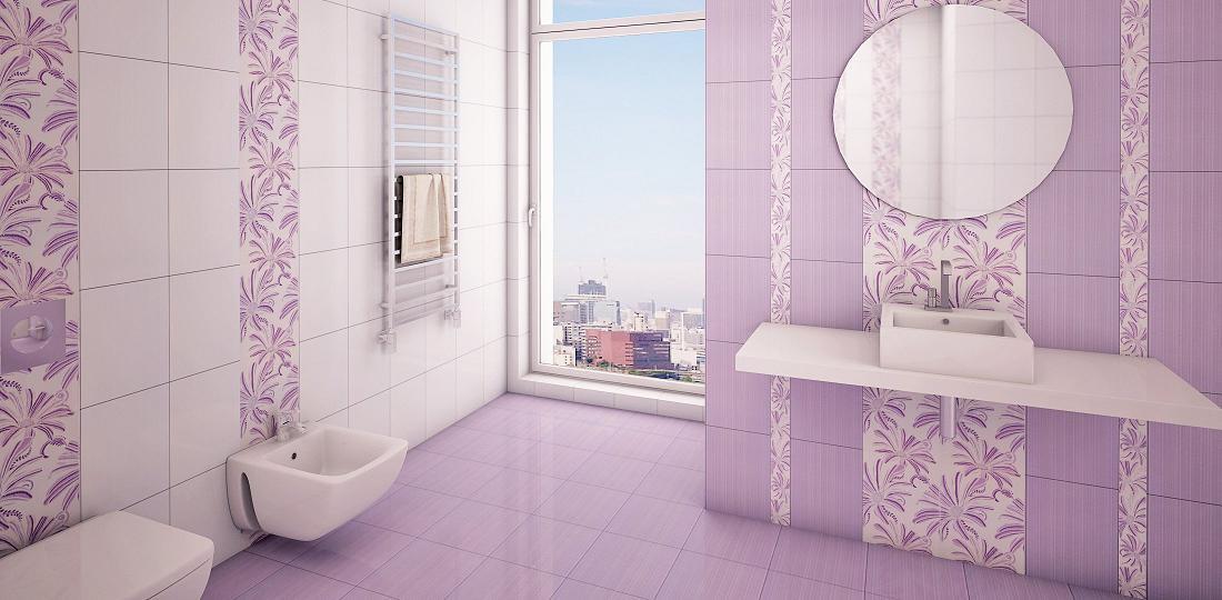 Сиреневый кафель для ванной комнаты