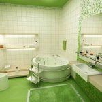 Ванная комната в зеленых оттенках