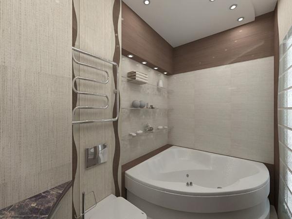 Стильная ванная комната и туалет с точечным освещением