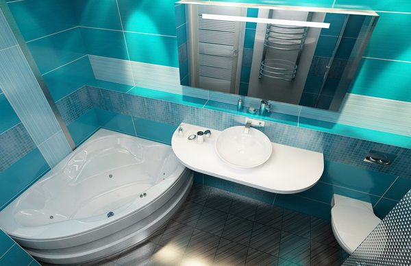 Туалет и ванная комната в ярком дизайне