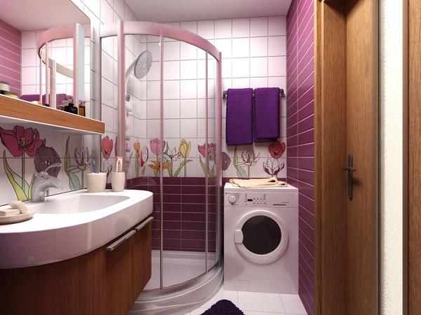 Малогабаритная ванная комната с кафельной отделкой