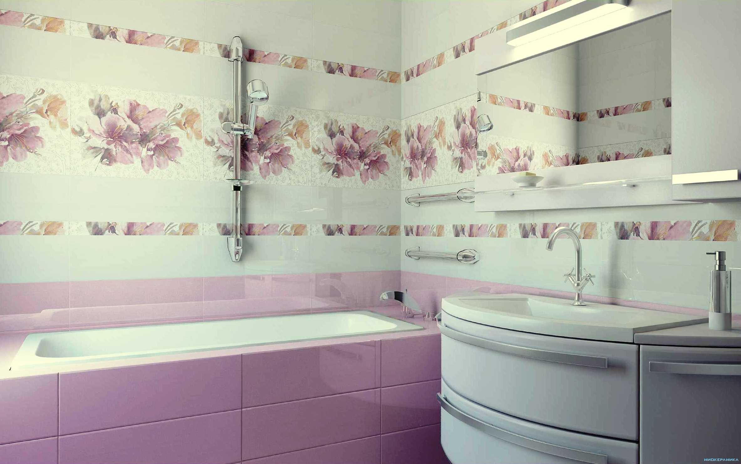 симпатичная керамическая плитка в ванной комнате в стиле печворк в светлых тонах