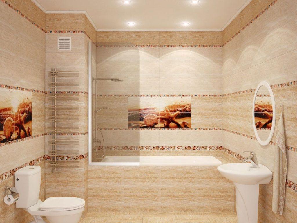 красивая керамическая плитка в ванной комнате в стиле классика в светлых тонах