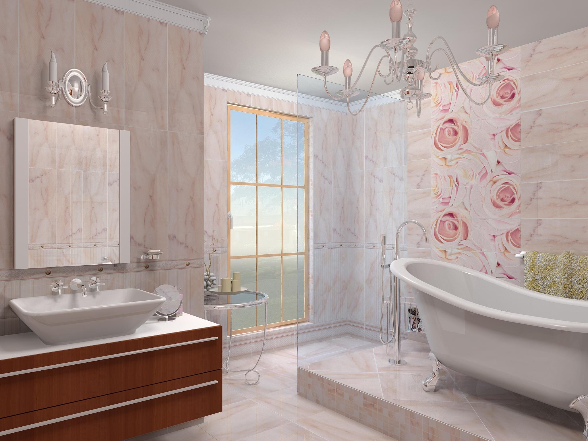 необычная керамическая плитка в интерьере ванной в стиле печворк в темных тонах