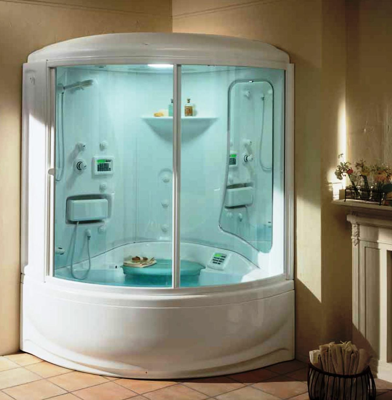 светлая кабина душевая в ванной