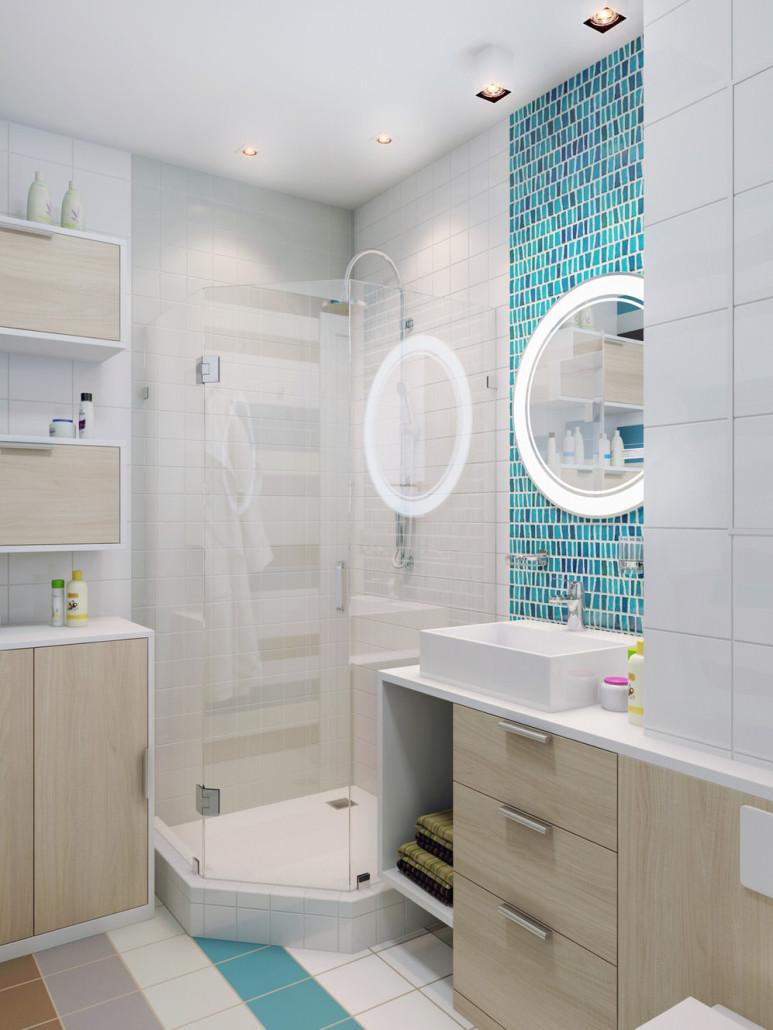 белая душевая в ванной комнате