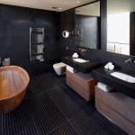 оформление ванной в темных тонах
