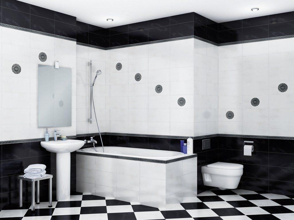 черно-белая ванная