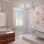 нежный дизайн ванной комнаты