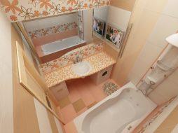 дизайнерское решение компактной ванной комнаты