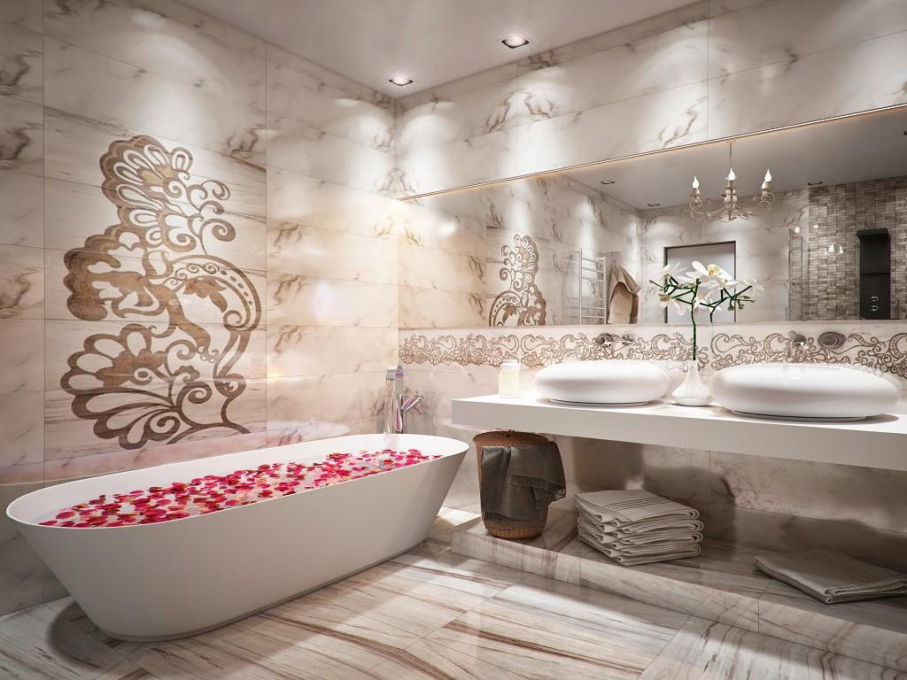 цвет ванной комнаты в квартире в ярком свете
