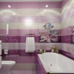 дизайн ванной в розово-сиреневых тонах поднимает настроение