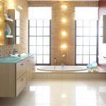 интерьер ванной в светлом цвете с вставками и рисунком