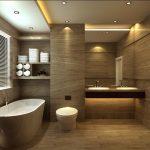 дизайн ванной в светлом цвете со светом и натяжным потолком