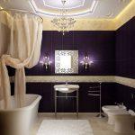 фиолетовая плитка в ванной добавляет мистицизм в интерьер
