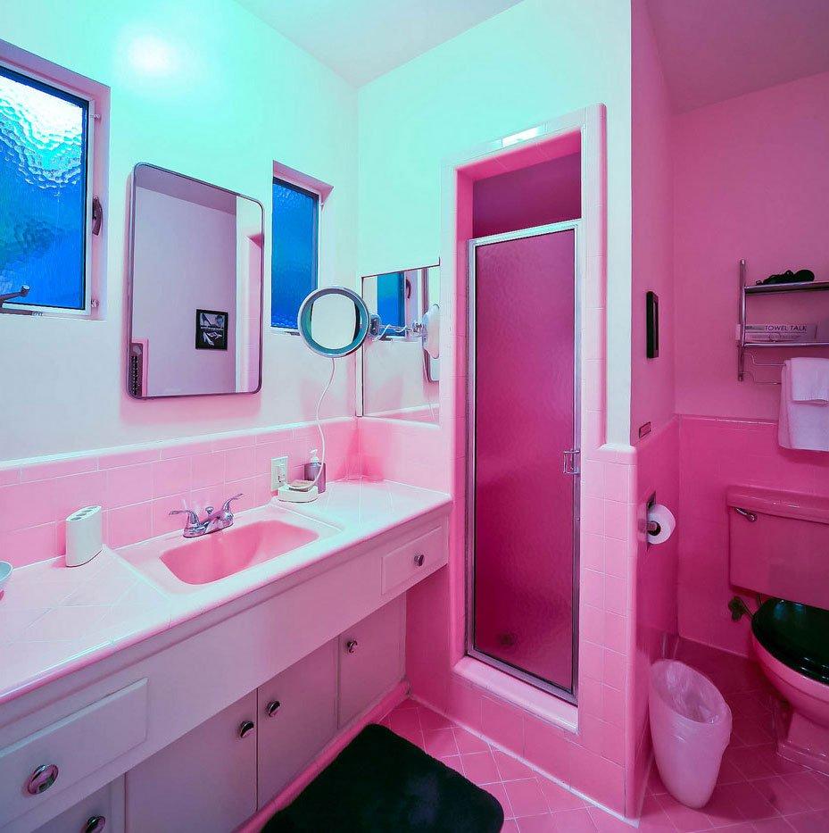 розовые оттенки в ванной комнате